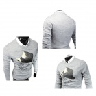 Men's Fashionable Printed Decorative Hat Pattern Round Neck Casual Sweater - Light Grey (L)