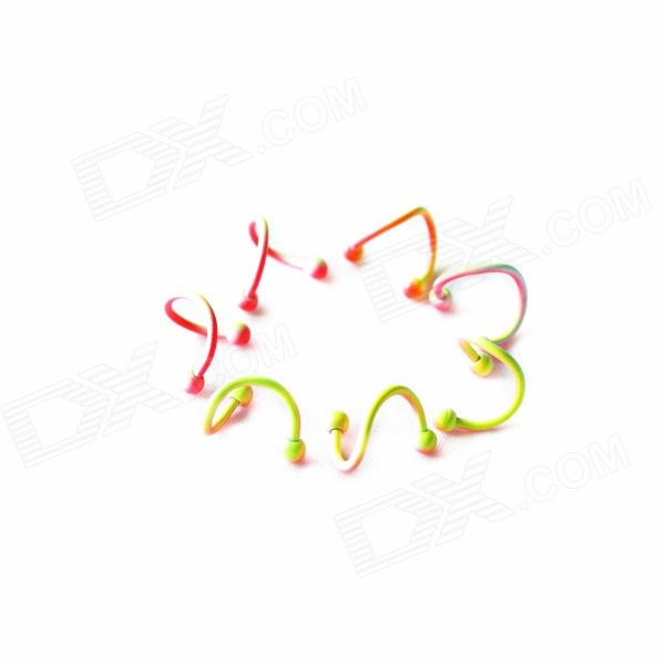 ME-01 Fashion Dazzle Colour S-Shaped Earrings - Deep Pink + Yellow + Multi-Color (Pair)