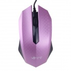 JM-319 Stylish Checked Pattern USB 2.0 Wired 1200dpi Gaming Mouse - Purple