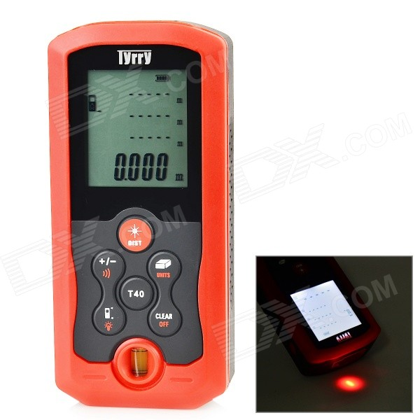 Tyrry T40 2 Display Distance / Area / Volume 40m Laser Distance Meter - Dark + Red (2 x AA) yihm hm 40 1 8 lcd handheld laser distance meter black blue 2 x aaa 0 05 40m