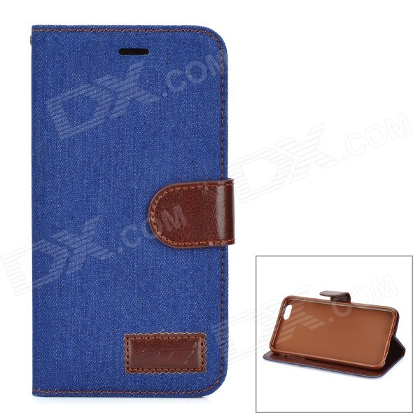 Retro Denim Pattern Protective PU Case w/ Stand / Card Slots for IPHONE 6 PLUS 5.5 - Deep Blue stand leather case for iphone 6 plus 6s plus 5 5 inch with card slot dark blue