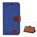 "Retro Denim Pattern Protective PU Case w/ Stand / Card Slots for IPHONE 6 PLUS 5.5"" - Deep Blue"