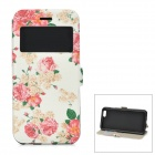 Roses Pattern PU Leather + TPU Front Window Case w/ Stand / Card Slot for IPHONE 6 4.7""