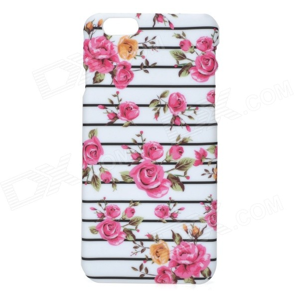 Flowers Pattern PC Back Case for IPHONE 6 4.7 - White + Pink cat pattern protective pc back case for iphone 6 4 7 white pink multi color