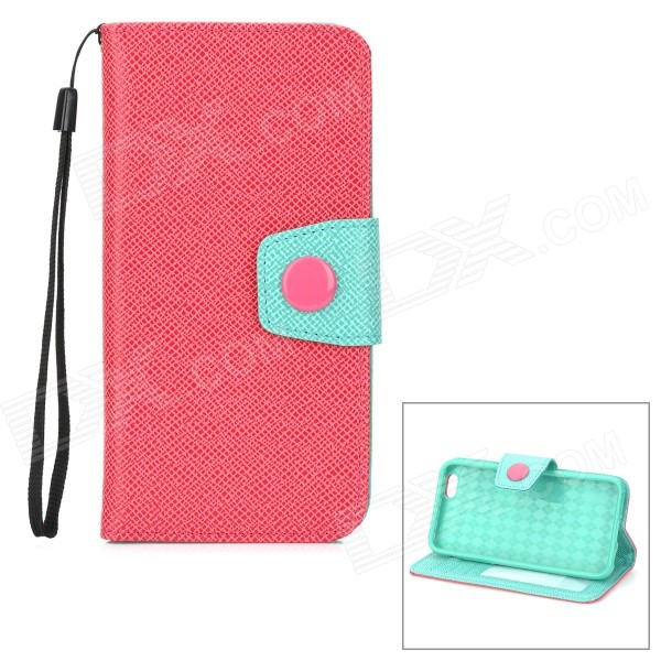 Protective PU Leather Case w/ Card Slot / Stand for IPHONE 6 4.7 - Red + Green stand leather case for iphone 6 plus 6s plus 5 5 inch with card slot dark blue