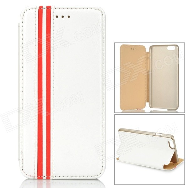 Protective PU + PC Flip-Open Case w/ Stand for IPHONE 6 4.7 - White + Red grid pattern protective pu case w stand for iphone 6 4 7 red white