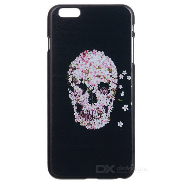 Skull Patterned Protective Plastic Back Cover Case for IPHONE 6 PLUS 5.5 - Black + Deep Pink tpu imd patterned gel cover for iphone 7 4 7 inch dream catcher