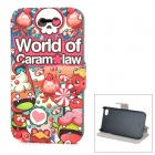 Candy Patterned Protective PU Leather + ABS Case w/ Stand for IPHONE 4 / 4S - Red + Multi-colored