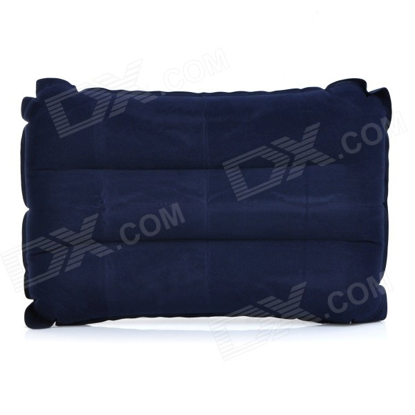 Outdoor Camping Rectangle Flocked Air Inflatable Cushion Pillow - Deep Blue