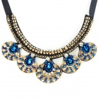 SHIYING X1408 Women's Fashion Rhinestone Pendant Necklace - Deep Blue + Black + Multi-Color