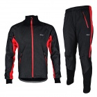 ARSUXEO AR14-A Men's Cycling Breathable Warm Long Jersey Top + Padded Pants Set - Black + Red (XL)