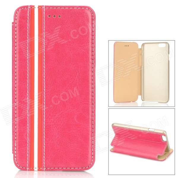 Protective PU + PC Flip-Open Case w/ Stand for IPHONE 6 4.7 - Deep Pink baseus faith protective pu pc case for iphone 5c deep pink