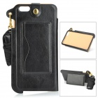 Protective PU Back Case w/ Card Slot / Strap for IPHONE 6 PLUS - Black