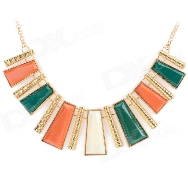 Women's Fashion Tassel Style Zinc Alloy + Resin Pendant Necklace - Golden + Multi-Color gorgeous 60cm length golden thick braided wheat chain necklace for men
