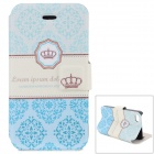 Crown Pattern Stilvolle PU + ABS Flip Open Case w / Stand / Card Slot für iPhone 4 / 4S - Grün + Beige