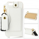 Protective PU Back Case w/ Card Slot / Strap for IPHONE 6 PLUS - White