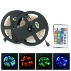 JRLED 48W 2400lm 300-SMD 3528 LED RGB Light Strips - Black + White (2 PCS / 5M / DC 12V)