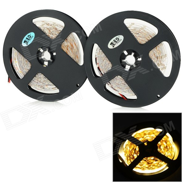 JRLED 48W 2400lm 3500K 300-SMD 3528 LED Warm White Light Strips - Black + White (2 PCS / 5M / DC12V)