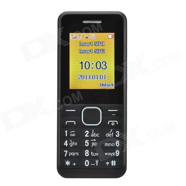 1.77 LCD Screen Dual-SIM Card Quad-band GSM Phone w/ MP3 / FM - BlackFeature Phones<br>Form  ColorBlackBrandOthers,NoModelF688DMaterialABS + electronic componentsQuantity1 DX.PCM.Model.AttributeModel.UnitShade Of ColorBlackNetworkingGSMFrequencyGSM 850/900/1800/1900 MHzData TransferGPRSSIM TypeOrdinary SIMSIM Slot2Network StandbyDual Network StandbyNetwork ConversationOne-Party Conversation OnlyGPSNoWi-FiNoTypeBrand NewOperating SystemN/ACPU ProcessorNoCPU Core QuantityOthers,NoLanguageSimplified Chinese, EnglishRAMNoROMNoMemory CardMicro SD card,  4GB max.Screen Size1.77 DX.PCM.Model.AttributeModel.UnitTouch Screen TypeNoScreen Resolution172 x 220 PixelsFlashNoBattery Capacity1000 DX.PCM.Model.AttributeModel.UnitTalk Time8 DX.PCM.Model.AttributeModel.UnitStandby Time72 DX.PCM.Model.AttributeModel.UnitBluetooth VersionNoRadio TunerYesSensorNoI/O InterfaceOthers,DC 5V interfacePacking List1 x Cell phone1 x Adapter (US 2-flat-pin plug, input: 100-240 V50/60Hz 150mA, output: 5V 500mA, 63cm-cable)1 x Li-ion battery (3.7V 1000mAh)1 x Chinese user manual<br>