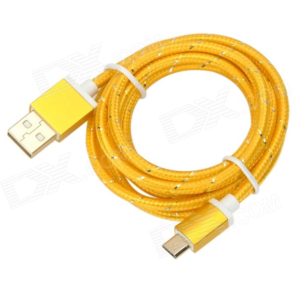 USB to Micro USB Data Charging Nylon Cable for Samsung Galaxy S3 / S4 - Gold (1.5m) magnetic charging dock usb charging data cable for samsung galaxy note 3 white black 90cm