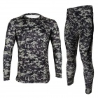 ARSUXEO Outdoor Camping Quick Dry Elastic Warm Thermal Long Johns Underwear - Camouflage (L)