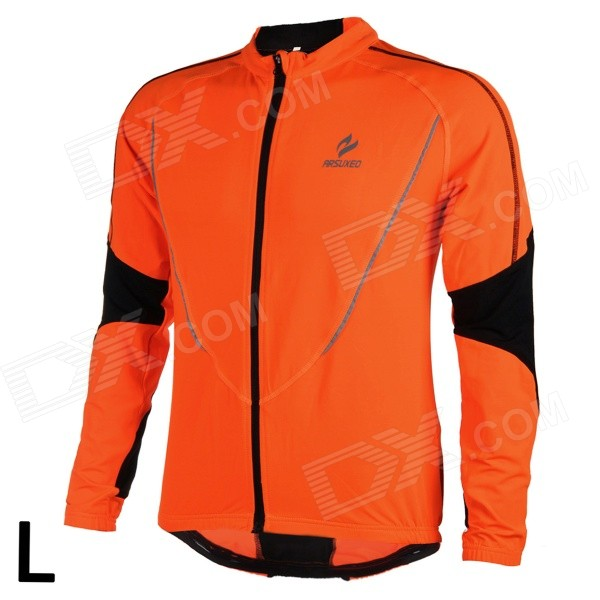 ARSUXEO AR130021 Men's Running Cycling Sports Elastic Long-Sleeve Jersey Top - Orange + Black (L) arsuxeo ar113 sports quick dry skinny seventh pants for cycling running black l