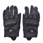 NEJE Perforated Leather Motorcycle Racing Gloves - Black (Size M / Pair)