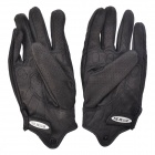NEJE Perforated Leather Motorcycle Racing Gloves - Black (Size XL / Pair)