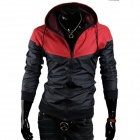 Men's Stylish Casual Contrast Color Jacket - Red + Black (XL)