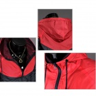 Casual chic contraste couleur Jacket - Rouge + Noir (XL)