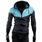 Men's Stylish Casual Contrast Color Jacket - Light Blue + Black (XL)