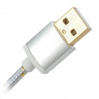 USB to Micro USB Data Charging Nylon Cable for Samsung Galaxy S3 / S4 - Silver (1.5m)