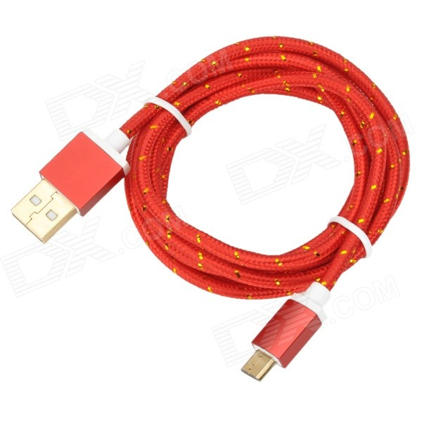 USB to Micro USB Data Charging Nylon Cable for Samsung Galaxy S3 / S4 - Red + Gold (1.5m) magnetic charging dock usb charging data cable for samsung galaxy note 3 white black 90cm