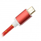 USB to Micro USB Data Charging Nylon Cable for Samsung Galaxy S3 / S4 - Red + Gold (1.5m)