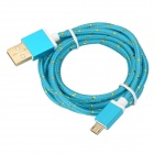 USB to Micro USB Data Charging Nylon Cable for Samsung Galaxy S3 / S4 - Blue + Gold (1.5m)