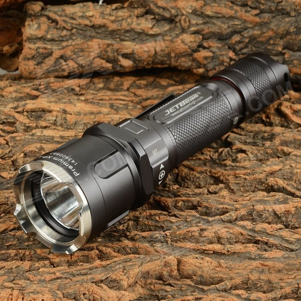 JETBeam 3M PRO 1100lm 5-Mode Cool White LED Flashlight - Black Grey18650 Flashlights<br>Form ColorBlackBrandJETBeamModel3M PROQuantity1 DX.PCM.Model.AttributeModel.UnitMaterialAluminum alloyEmitter BrandCreeLED TypeOthers,XLampEmitter BINothers,XP-LNumber of Emitters1Color BINCold WhiteWorking Voltage   3~8.4 DX.PCM.Model.AttributeModel.UnitPower Supply18650Current2600 DX.PCM.Model.AttributeModel.UnitActual Lumens1100 DX.PCM.Model.AttributeModel.UnitRuntime3 DX.PCM.Model.AttributeModel.UnitNumber of Modes5Mode ArrangementOthers,Turbo &gt; High &gt; Mid &gt; Low &gt; Ultra-lowMode MemoryYesSwitch TypeClicky SwitchSwitch LocationTailcapLensOthers,Coating mineral glassReflectorAluminum SmoothBeam Range320 DX.PCM.Model.AttributeModel.UnitStrap/ClipStrap included,Clip includedOther FeaturesHard Anodized: HA-III; Powered by 2 x CR123 (RCR123A) or 1 x 18650 batteries; Head diameter: 38.5mm; Body diameter: 25.4mm; Length: 150.1mm; Weight: 151g (without battery)BrandOthers,JETBeamOther FeaturesOthersOutput(lumens)1001 and aboveRuntime(hours)3.1-4Packing List1 x Flashlight1 x Strap1 x Waterproof O-ring1 x Clip1 x Waterproof cap1 x Waist case<br>