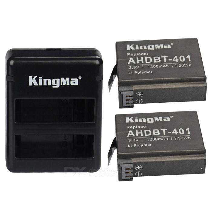 Kingma KIT4001 1200mAh batteri + lader for gopro hero 4 - svart