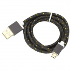 USB to Micro USB Data Charging Nylon Cable for Samsung Galaxy S3 / S4 - Black + Gold (1.5m)