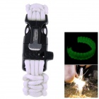 OUMILY Outdoor Survival Paracord Bracelet w/ Flint Fire Scraper + Whistle - White (4m)
