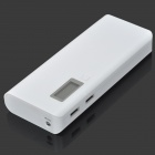 DIY 5 x Flat Head 18650 Power Bank Case w / Dual-USB, LED Light - Branco