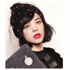 DF-08 Stylish Knitting Wool + Mesh Yarn Hat for Women - Black + Red