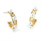 eQute EPEW27C3 Women's Elegant Modern Artificial Pearl + Alloy Stud Earrings - Golden (Pair)