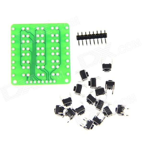 DIY 4 x 4 Keyboard Buttons + Module + Pin Header Set - Black + Green 10pcs 1x4 p 4 pin 2 54mm pin header male single row right angle 90 degree smd smt surface mount pcb mount gold