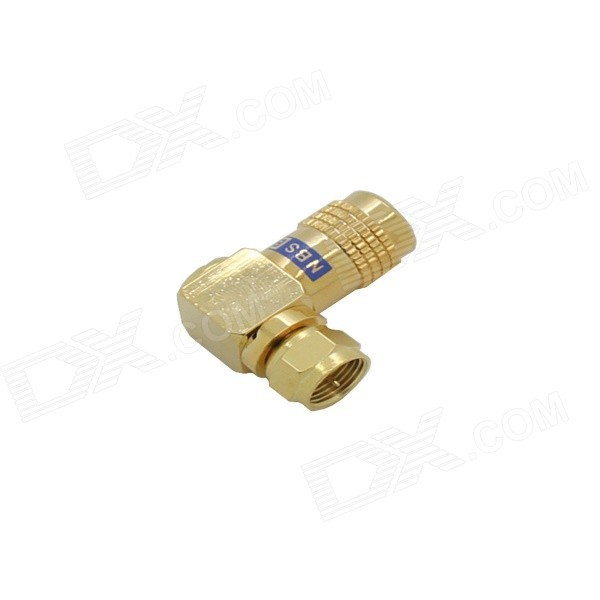TAD-1017A 3-in-1 Gold-plated Copper Socket F Male Connector - Golden 3 5mm male to female gold plated copper adapter silvery white golden