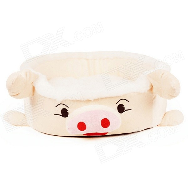 YDL-WJ3001-Z-M Fashionable Piggy Style Nest Bed for Pet Cat / Dog - Light Yellow + White (Size M)