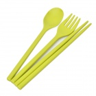 JMT H8002 Portable Chopsticks + Fork + Soup Spoon Set - Green