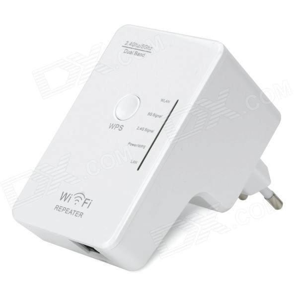 2.4GHz / 5GHz Wireless Dual-Band Wi-Fi Repeater w/ EU Wall Plug - White