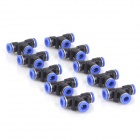 ZnDiy-BRY PE16 16mm T-Type Push-In Spliter Pneumatic Fitting Connectors - Black + Blue (10 PCS)