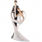 FEIS HJ-62494500 Happy Bride & Groom Style Decoration Ornament - White + Black