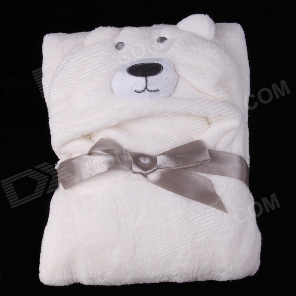 Babies' Cute Bear Style Ultra-Soft Dacron + Cotton Blanket - White